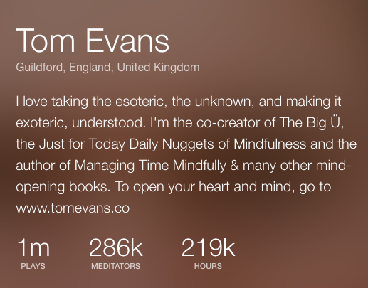1 million listens Insight Timer Tom Evans