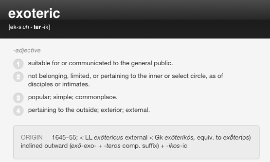 Exoteric definition