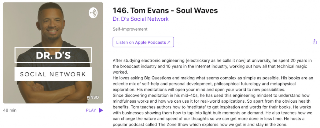 Tom Evans Talking About Soulwaves with Dr Darian Parker