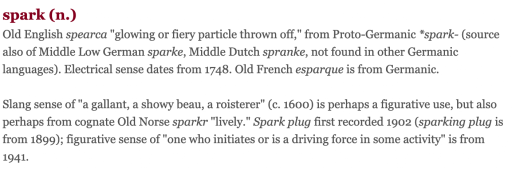 Etymology of Spark